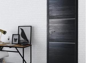 дверь профиль дорс 2stk Pine Black glossy  в интерьере