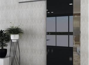 дверь профиль дорс 45vg черный глянец в интерьере